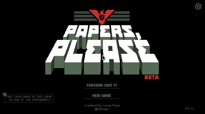 Papers, Please title screen.